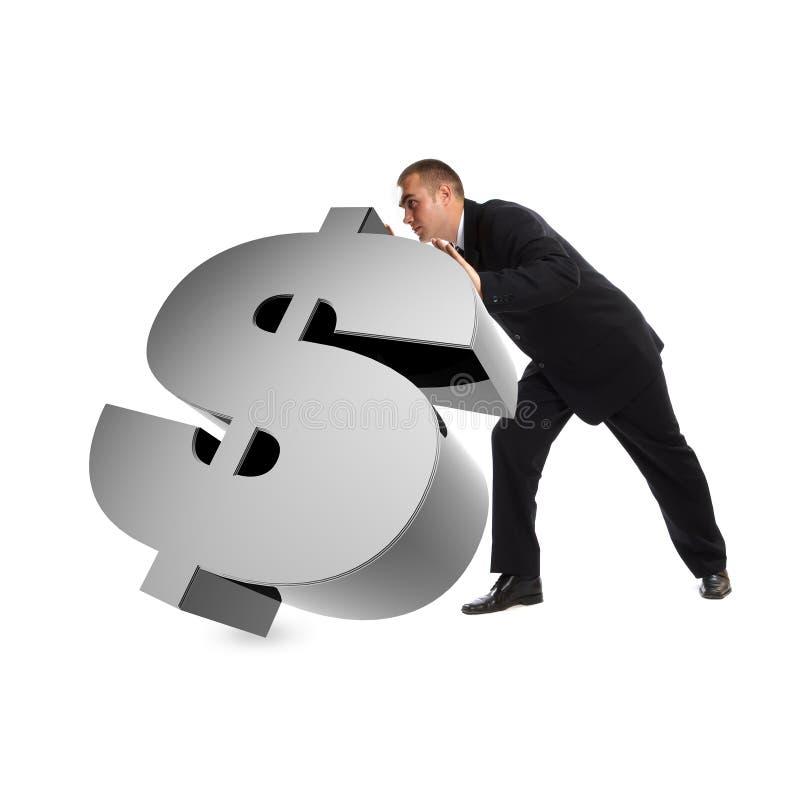 Geschäftsmann mit Zeichen des Dollars 3d stockbilder