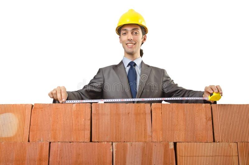 Download Geschäftsmann Mit Ziegelsteinen Stockbild - Bild von herausforderung, erbauer: 26373581