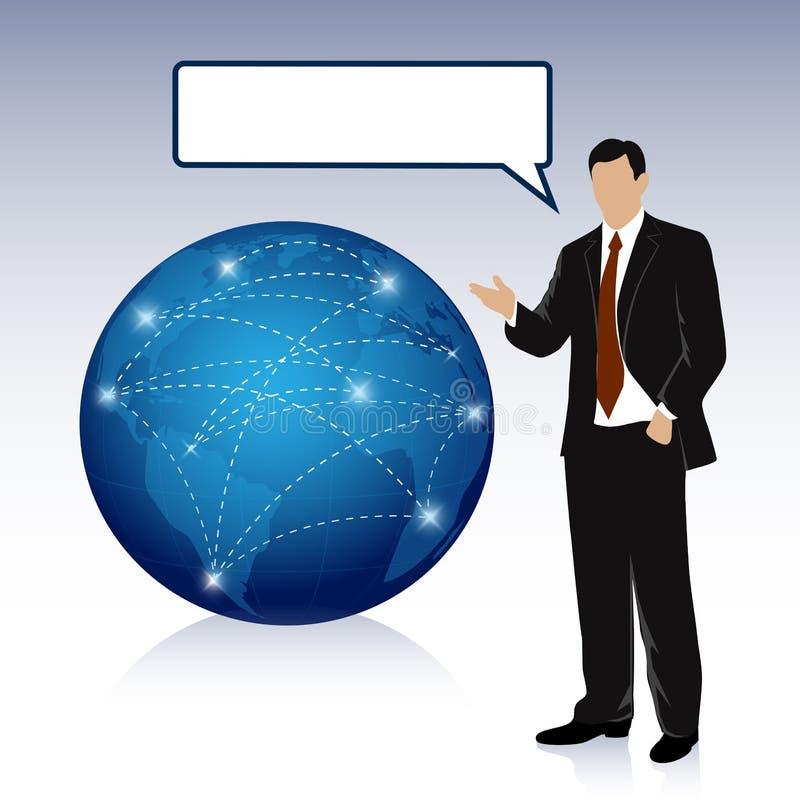 Geschäftsmann nahe einem Planeten, Schnittgeschäft von Kommunikationen, ein Platz für Ihren Text lizenzfreie abbildung