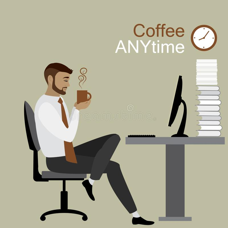 Geschäftsmann oder Büroangestellter, der einen Tasse Kaffee, Kaffee bre hält stock abbildung