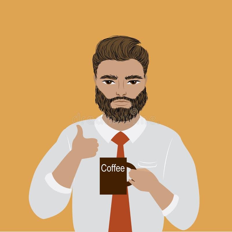 Geschäftsmann oder Büroangestellter, der einen Tasse Kaffee hält stock abbildung