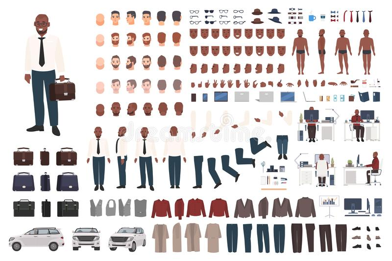 Geschäftsmann oder Büroangestelltschaffungsausrüstung Sammlung flache männliche Zeichentrickfilm-Figur-Körperteile, Gesichtsgeste lizenzfreie abbildung