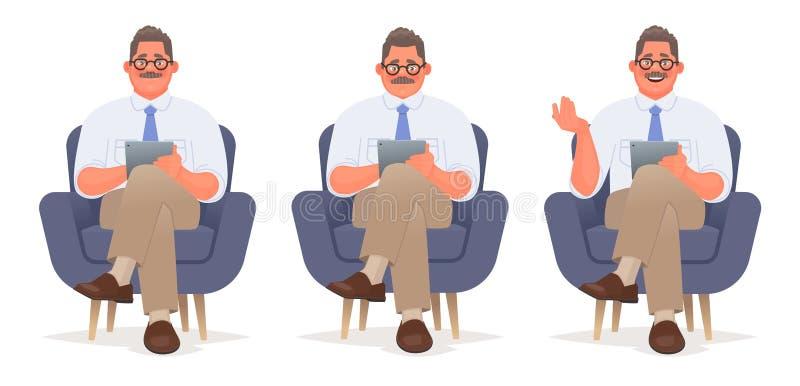 Geschäftsmann oder Berater sitzt in einem Stuhl mit einer Tablette in seinen Händen Liest und spricht Psychologecharakter lizenzfreie abbildung