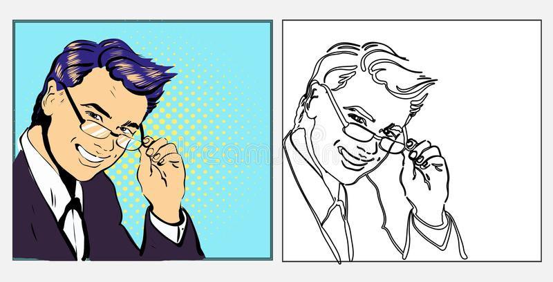 Geschäftsmann oder Lehrer hübsch in den lächelnden Gläsern, in gezeichneter Illustration der Art der Pop-Art Retro- komische Hand stock abbildung
