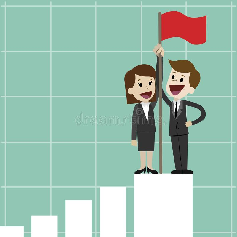 Geschäftsmann oder Manager und Geschäftsfrau, die auf dem wachsenden Diagramm mit einer Flagge stehen Erfolgreiches Geschäft oder lizenzfreie abbildung