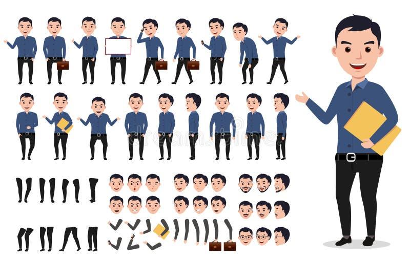 Geschäftsmann- oder Mannesvektorcharakter-Schaffungssatz Professioneller, die Ordner hält lizenzfreie abbildung