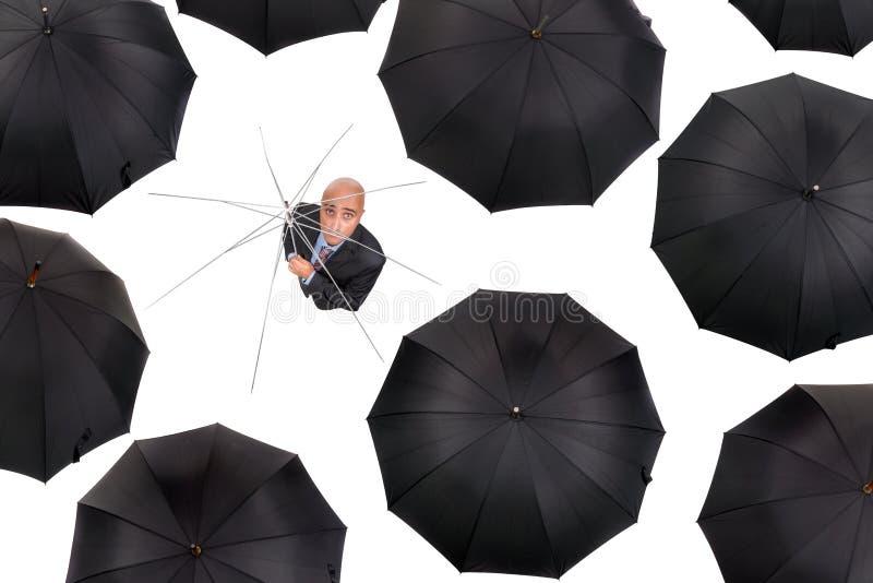 Geschäftsmann ohne Schutz stockfoto