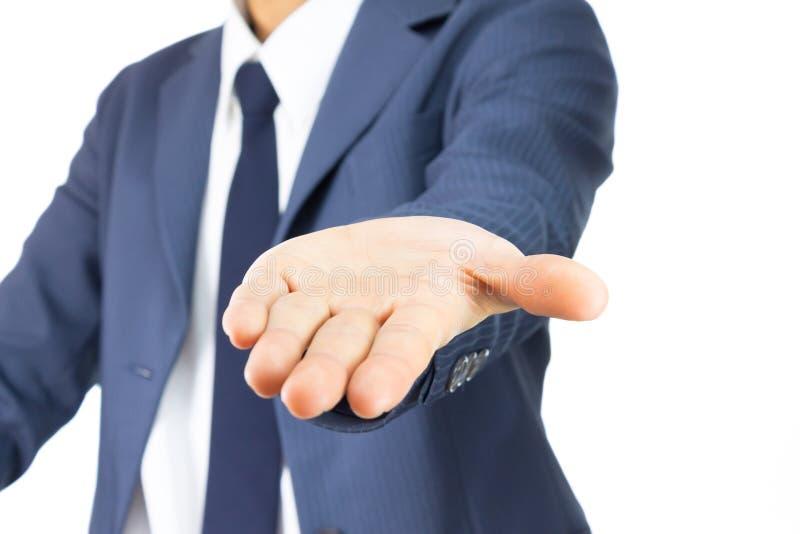 Geschäftsmann-Open Palm Hand-Geste lokalisiert auf weißem Hintergrund lizenzfreies stockfoto