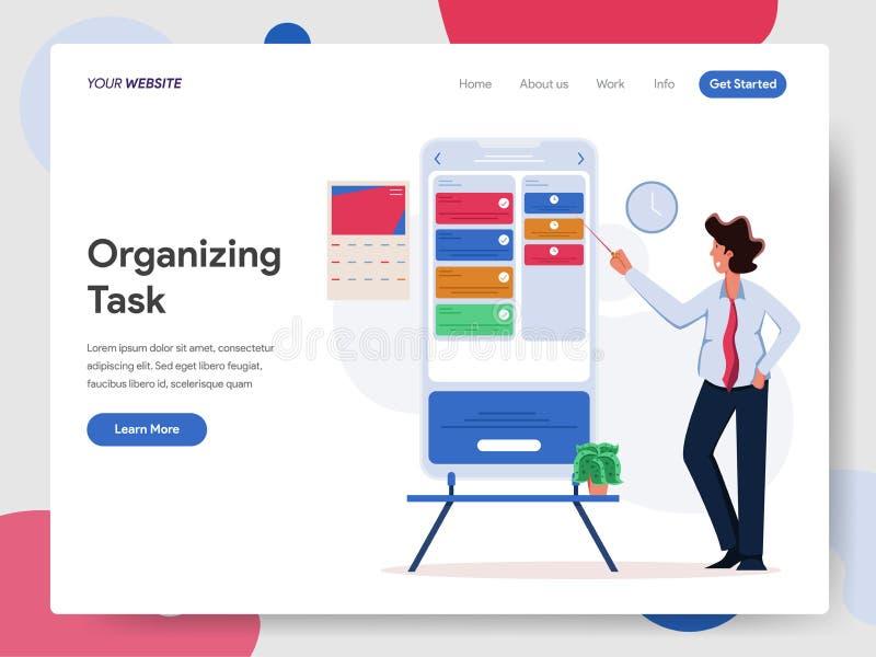 Geschäftsmann-Organizing Task On-Handy-Illustrations-Konzept Modernes flaches Konzept des Entwurfes des Webseitenentwurfs f?r Web vektor abbildung