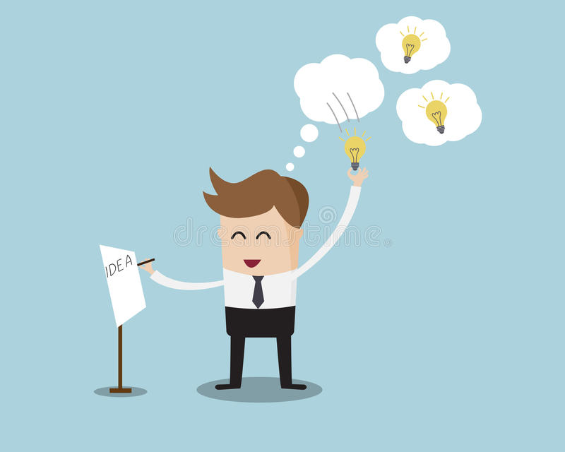Geschäftsmann Pick Bulb Idea von der Blase stock abbildung