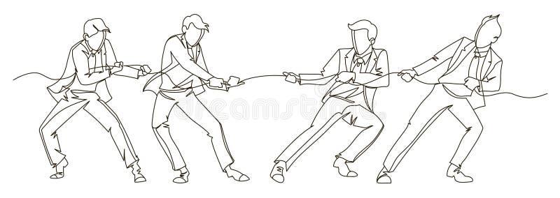 Geschäftsmann Pulling die Seil-ununterbrochene Linie Kunst Geschäfts-Teamwork-lineares Konzept Schattenbild-Leute-Wettbewerb vektor abbildung