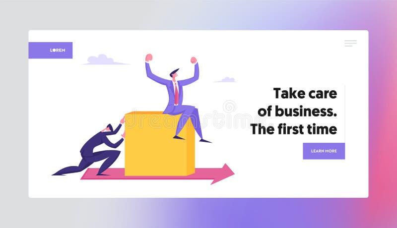 Geschäftsmann Push Huge Cube mit Geschäftemacher, der oben auf Roter Pfeil auf dem Boden sitzt Wettbewerbsproblem lizenzfreie abbildung