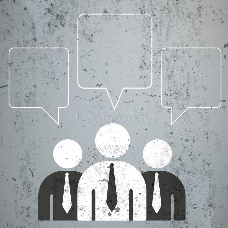 3 Geschäftsmann-quadratische Sprache-Blasen stock abbildung