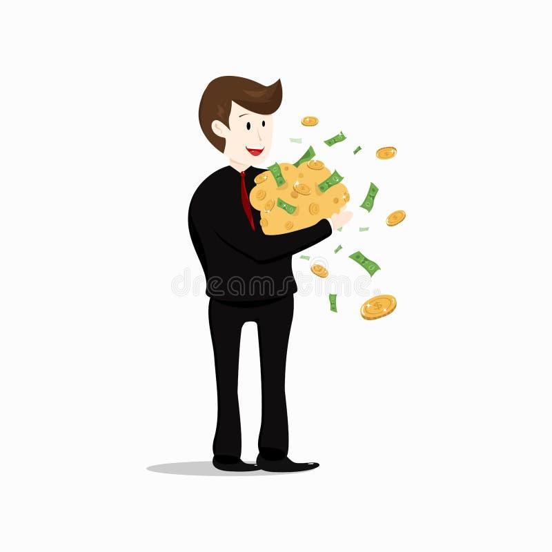 Geschäftsmann, reich, arbeitend für Geldcharakter-Karikatur collecti stock abbildung