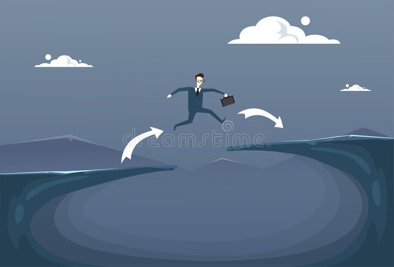 Geschäftsmann-Risiko-Konzept Geschäftsmann-Jump Overs Cliff Gap Mountain To Success lizenzfreie abbildung