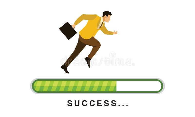 Geschäftsmann-Run On Green-Fortschritts-Laden-Stange mit Erfolgs-Text-Vektor-Illustration vektor abbildung