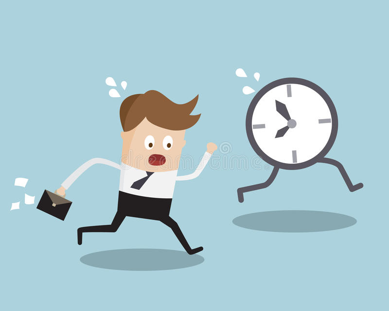 Geschäftsmann-Running Follow Clock-Spätwerk-Zeit lizenzfreie abbildung