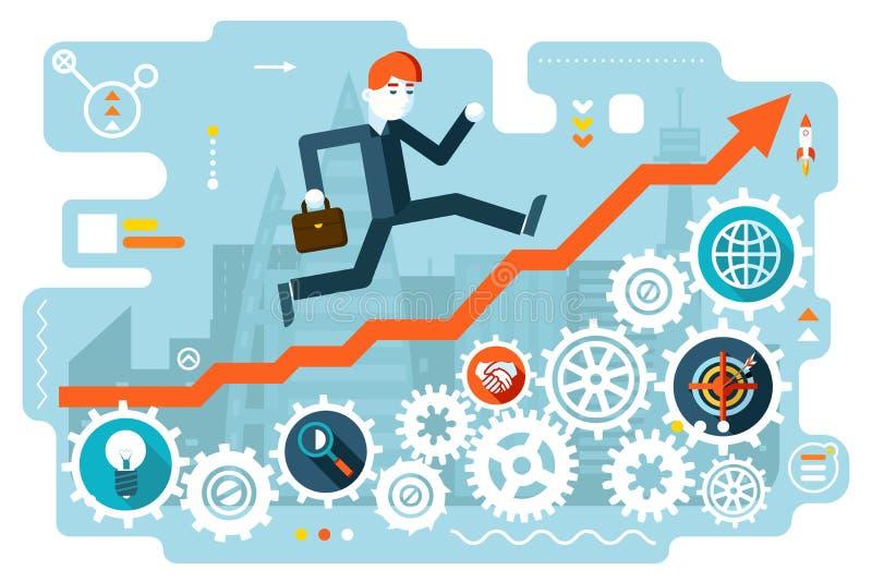 Geschäftsmann Running zum Erfolg auf Infographic-Treppen-Symbol übersetzt Ikonen Stadt-Hintergrund-flache Design-Vektor-Illustrat vektor abbildung
