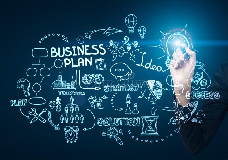 Geschäftsmann ` s Hand, die eine Geschäftsideenskizze zeichnet lizenzfreies stockfoto