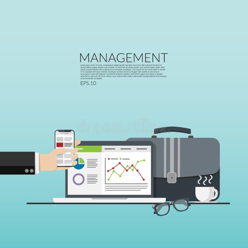 Geschäftsmann ` s Hand, die Handy, Computerlaptop mit Datengraphik auf Schirm, die Dokumententasche und heiße Kaffeetasse lokalis stock abbildung