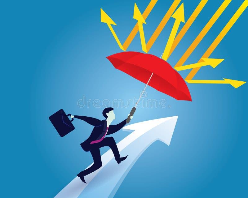 Geschäftsmann schützen Frauen mit Regenschirm Geschäftsmann und Regenschirm Vektor lizenzfreie abbildung