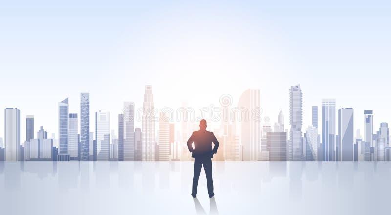 Geschäftsmann-Schattenbild über Stadt-Landschaftsmodernen Bürogebäuden lizenzfreie abbildung