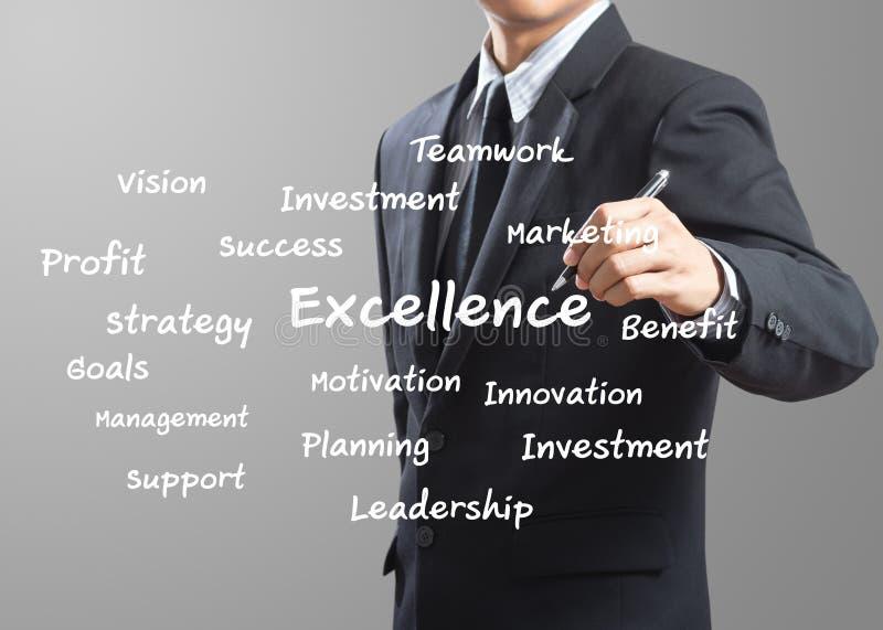 Geschäftsmann-Schreiben hervorragende Leistung lizenzfreies stockbild