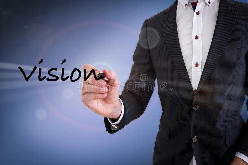 Geschäftsmann-Schreibens-Vision lizenzfreies stockbild