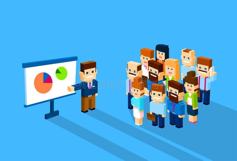 Geschäftsmann-Show-Diagramm-Wirtschaftler gruppieren die Konferenz, die isometrisches 3d trifft stock abbildung