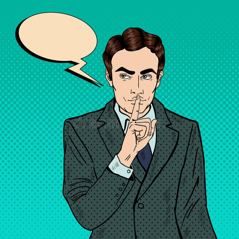 Geschäftsmann Silent Quite Gesture mit dem Finger Geheimnis-Geheimnis Pop-Art stock abbildung