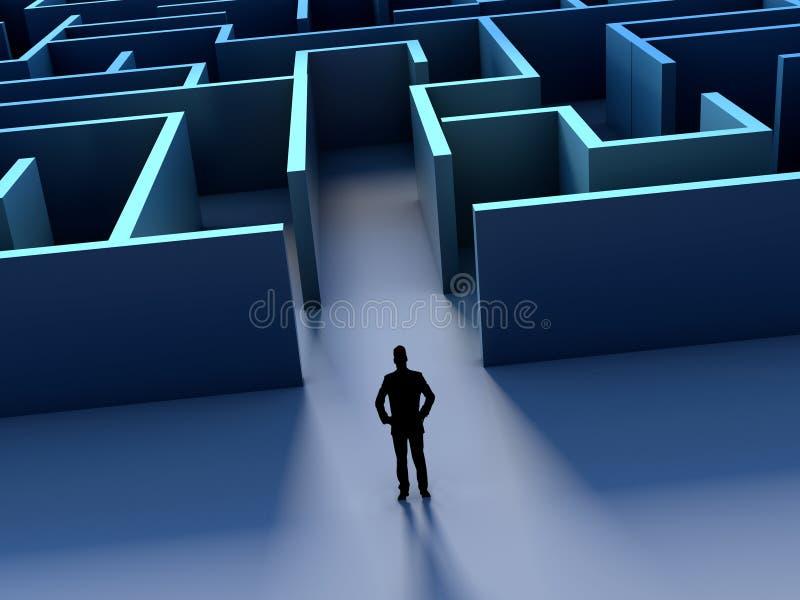 Geschäftsmann silhouete und Labyrinthherausforderung voran vektor abbildung
