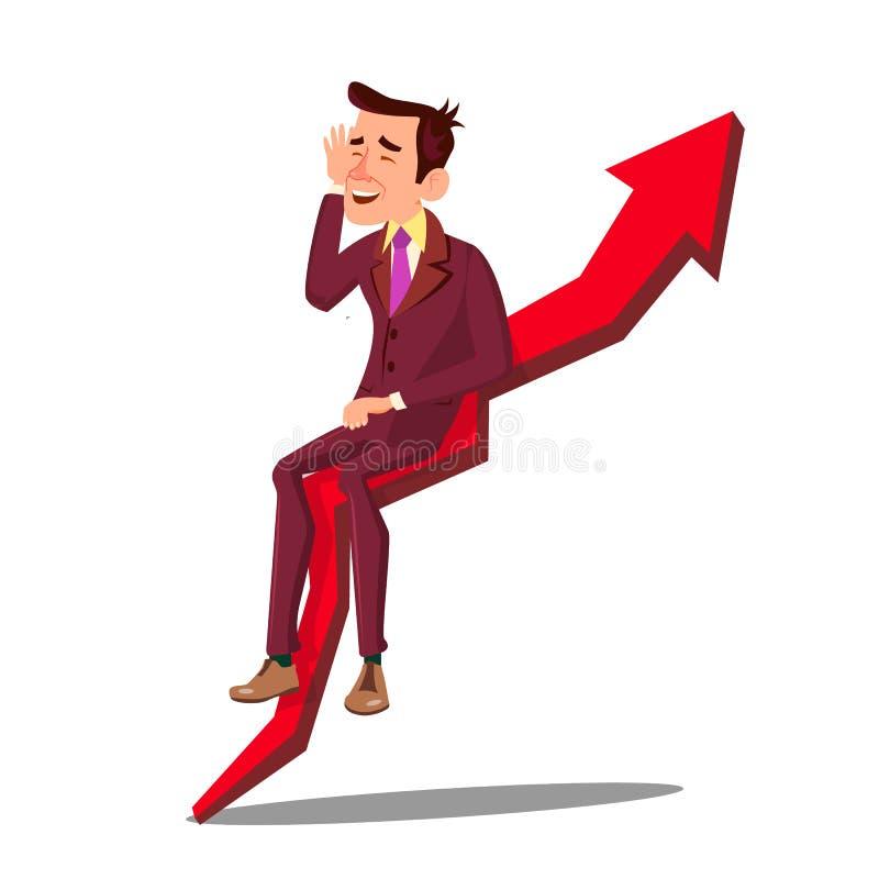 Geschäftsmann-Sitting On Arrow-Diagramm der Verkaufs-Zunahme oben gehend Vektor Getrennte Abbildung vektor abbildung