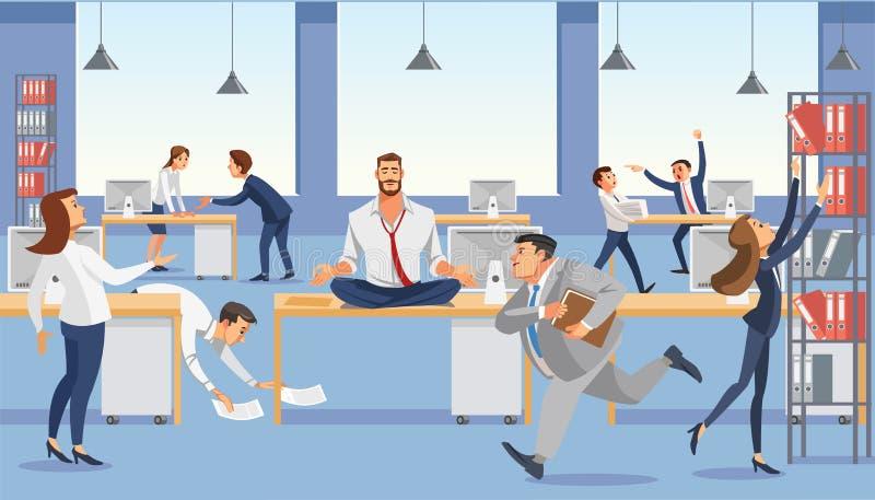 Geschäftsmann sitzen auf Tabelle im Büro Calp in der Meditation entspannen sich Betonte Vektorzeichentrickfilm-figuren stock abbildung