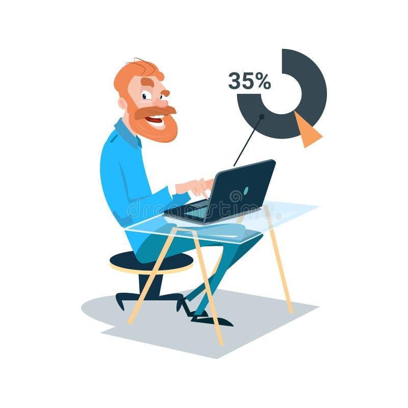 Geschäftsmann-sitzende Schreibtisch-Arbeits-Laptop-Computer vektor abbildung