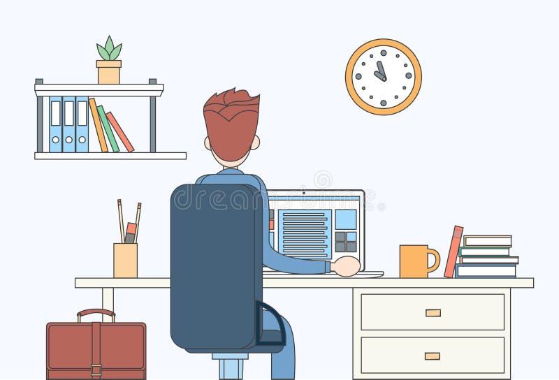 Geschäftsmann-sitzende Schreibtisch-Büro-Arbeitsplatz-Laptop-Rückseiten-hintere Ansicht lizenzfreie abbildung
