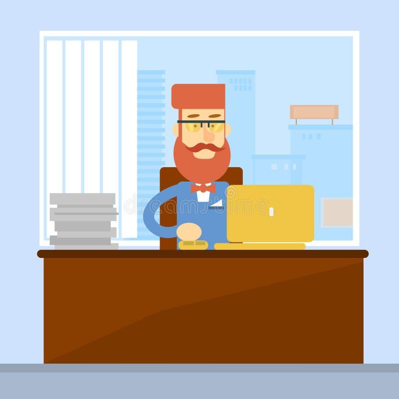 Geschäftsmann-sitzender Schreibtisch-Büro-Arbeitsplatz-Laptop lizenzfreie abbildung