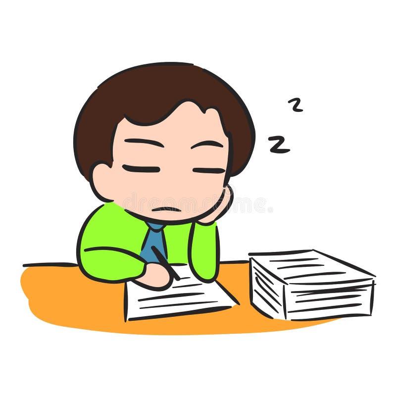Geschäftsmann Sleep mit schwacher Batterie lizenzfreie abbildung