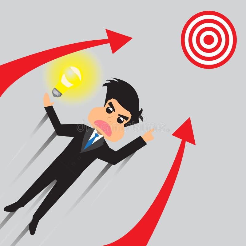 Geschäftsmann Soar To Target mit Idee vektor abbildung