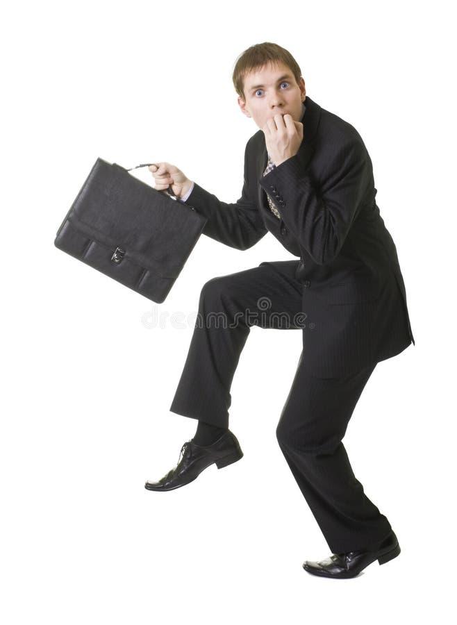 Geschäftsmann spät zum zu arbeiten stockfotos