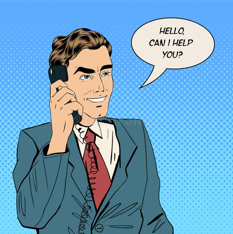Geschäftsmann Speaking am Telefon im Büro stock abbildung