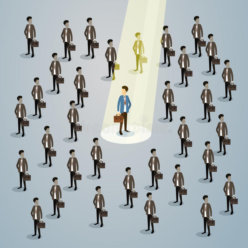 Geschäftsmann-Spotlight Human Resource-Einstellungs-Kandidat, Geschäftsleute stellen das isometrische Konzept 3d an lizenzfreie abbildung