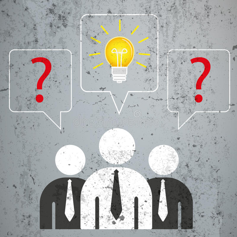 3 Geschäftsmann-Sprache-Blasen-Fragen-Lösung vektor abbildung