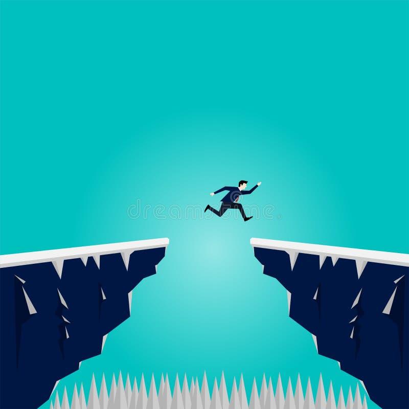 Geschäftsmann springen über Klippengebirgsabstand stock abbildung