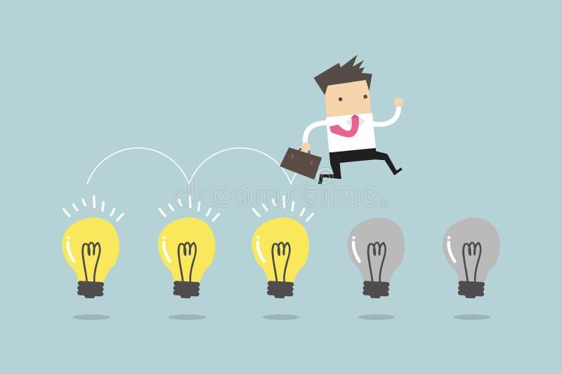 Geschäftsmann springen auf Glühlampen lizenzfreie abbildung