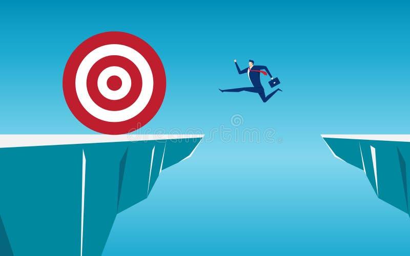 Geschäftsmann springen durch die Abstandshindernisse zwischen Hügel zum großen Ziel und Erfolg Laufen und Sprung über Klippen lizenzfreie abbildung