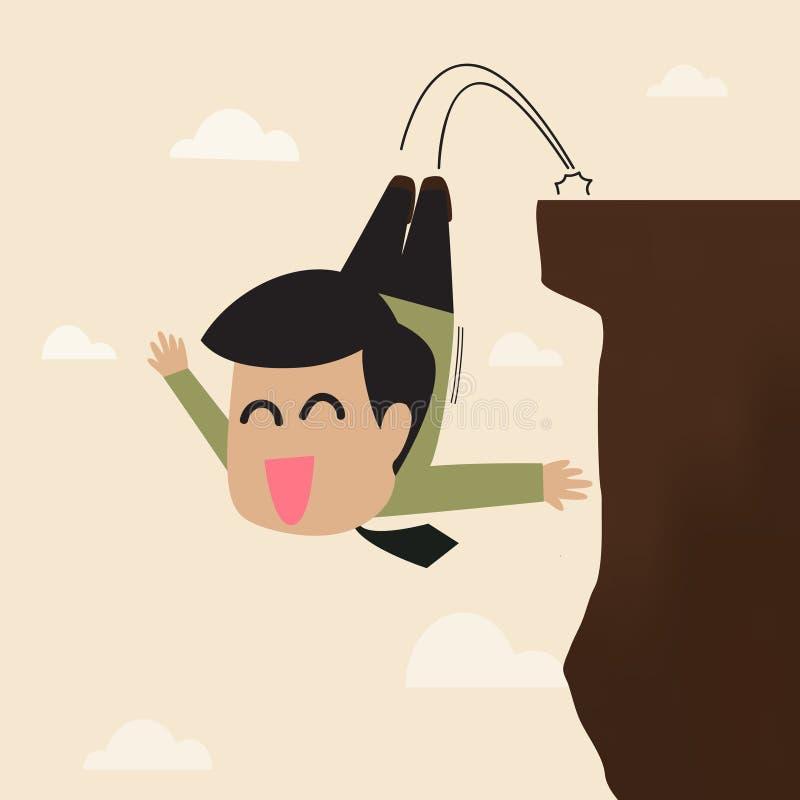 Geschäftsmann springen von einer Klippe stock abbildung