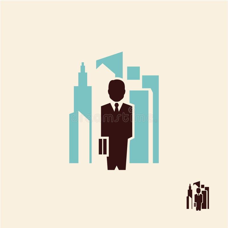 Geschäftsmann-Stadtikone vektor abbildung