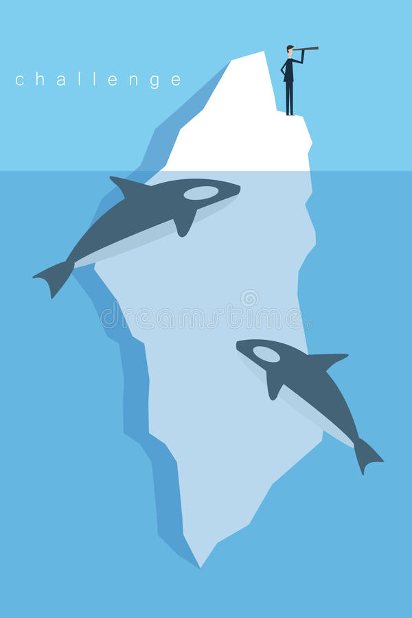 Geschäftsmann-Standing On-Eisberg im Meer und durch Wal umgeben Karikaturillustration für Geschäftsdesign Minimalistschweinestall stock abbildung