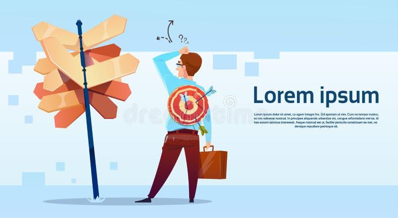 Geschäftsmann-stehendes Zeichen wählen Richtungs-Weisen-Schild-Pfeil lizenzfreie abbildung