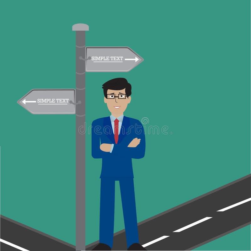 Geschäftsmann-stehendes Zeichen wählen Richtungs-Weisen-Schild-Vektor-Illustration lizenzfreie abbildung